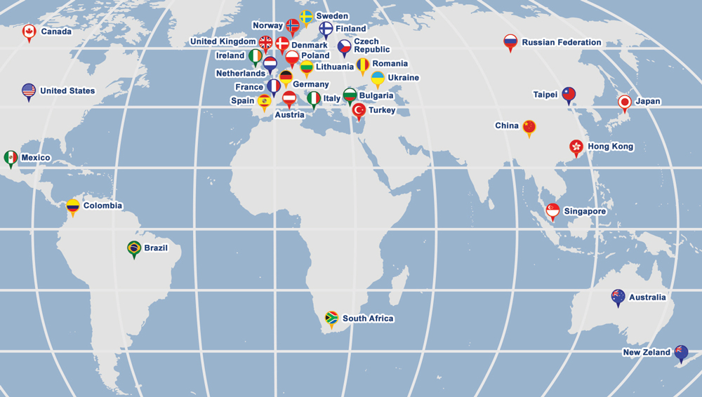 Map of International Society for Trenchless Technology Affiliated Societies